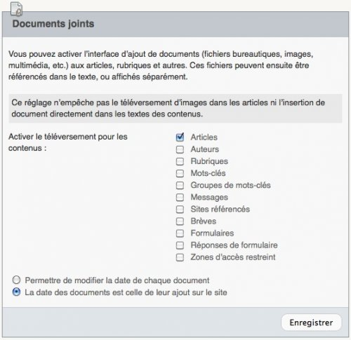 Configuration des documents joints